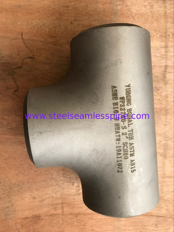 "Duplex Steel Butt Weld Fittings ASTM A815 S32760 / F55 / 1.4501 TEE A403 BW B16.9 2"" SCH80"